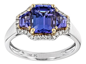 Rectangular Octagonal And Trapezoid Tanzanite With Diamond 14K Two-Tone Gold Ring 1.86ctw
