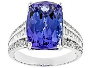 Blue Tanzanite Rhodium Over 18K White Gold Ring 7.75ctw