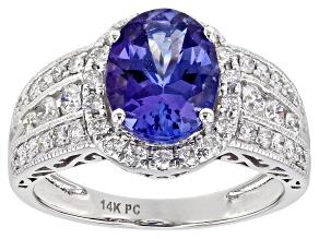 Blue Tanzanite 14K White Gold Ring 2.20ctw