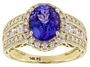 Blue Tanzanite 14K Yellow Gold Ring 2.20ctw