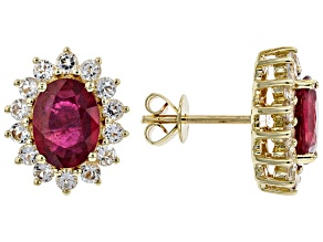 Red Mahaleo(R) Ruby 10K Yellow Gold Earrings 3.40ctw