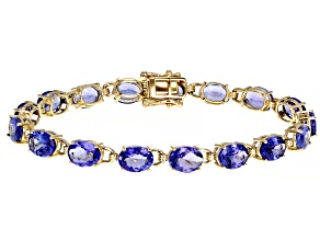 Blue Oval Tanzanite 14K Yellow Gold Tennis Bracelet 18.50ct.