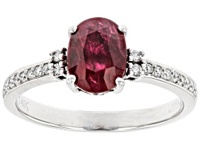 Red Ruby With White Diamond Rhodium Over 14K White Gold Ring 1.53ctw