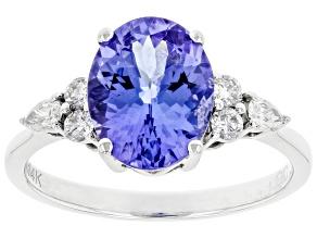 Blue Tanzanite With Round White Diamond Rhodium Over 14k White Gold Ring 2.72ctw