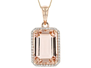 Pink Morganite With Round Diamond 14k Rose Gold Pendant With Chain 5.11ctw