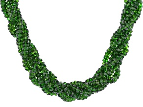 Green Chrome Diopside Rhodium Over Sterling Silver 5-Row Beaded Necklace 2.5mm-4.0mm.