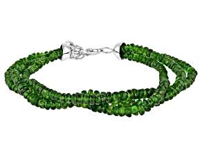 Green Chrome Diopside Rhodium Over Sterling Silver Beaded Bracelet