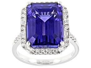 Blue Tanzanite With White Diamond Rhodium Over 18K White Gold Ring 13.00ctw
