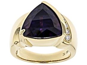 Purple Amethyst And Round White Diamond 14K Yellow Gold Ring 5.32ctw