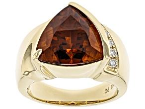 Madeira Citrine™ And Round White Diamond 14K Yellow Gold Ring 5.07ctw