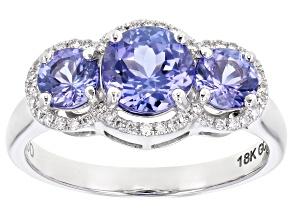 Blue Tanzanite Rhodium Over 18K White Gold Ring 1.78ctw