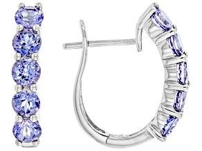 Blue Tanzanite Rhodium Over 14K White Gold Earrings 2.00ctw