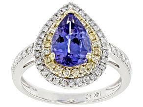 Blue Tanzanite With Round Yellow & White Diamond Rhodium Over 14K White Gold Two-Tone Ring 2.42ctw