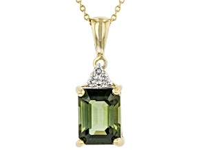 Green Tourmaline 14K Yellow Gold Pendant With Chain 1.44ctw