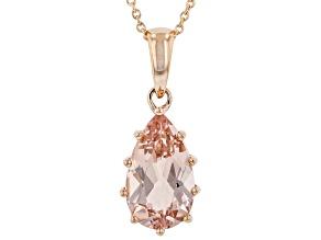 Peach Cor-De-Rosa Morganite(TM) 14K Rose Gold Pendant With Chain 2.25ct
