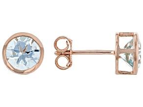 Round Aquamarine 14K Rose Gold Solitaire Stud Earrings 1.50ctw