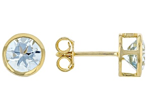 Round Aquamarine 14K Yellow Gold Solitaire Stud Earrings 1.50ctw