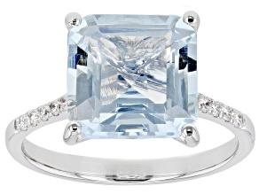 Blue Aquamarine Rhodium Over 14K White Gold Ring 3.88ctw