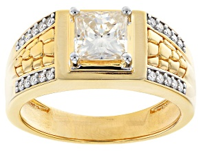 Moissanite 14k yellow gold over sterling silver mens ring 1.90ctw DEW.