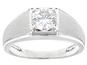 Moissanite 14k White Gold Mens Ring 1.20ct DEW.