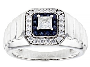 Moissanite And Blue Sapphire Platineve Mens Ring .81ctw DEW.