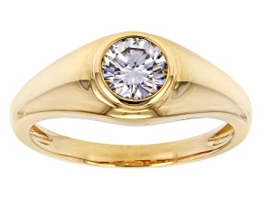 Moissanite 14k yellow gold mens ring 1.00ct DEW.