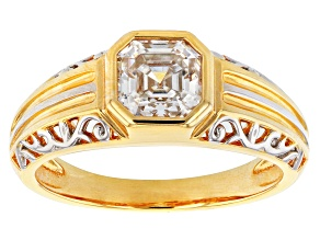 Moissanite 14k yellow gold over sterling silver and platineve mens ring 1.85ct DEW.