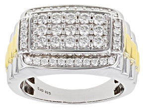 Moissanite platineve and 14k yellow gold over platineve two tone mens ring 1.50ctw DEW.