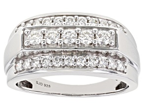 Moissanite Platineve Mens Ring 1.16ctw DEW.