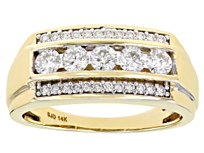 Moissanite 14k Yellow Gold Mens Ring 1.04ctw DEW.