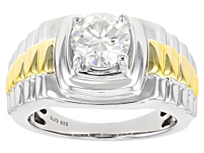 Moissanite platineve and 14k yellow gold over platineve two tone mens ring 1.90ct DEW.