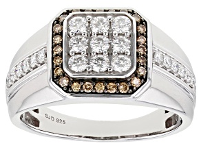 Moissanite and champagne diamond platineve mens ring .78ctw DEW.