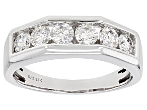 Moissanite 14k White Gold Mens Ring 1.38ctw DEW.