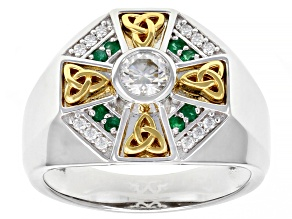 Moissanite and Zambian emerald platineve and 14k yellow gold over platineve mens ring .62ctw DEW