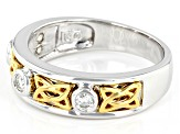 Moissanite platineve and 14k yellow gold over platineve two tone mens ring .30ctw DEW.