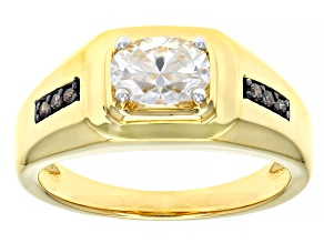Moissanite and champagne diamond 14k yellow gold over silver mens ring 1.50ct DEW.