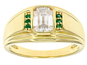 Moissanite and emerald 14k yellow gold over silver mens ring 1.75ct DEW