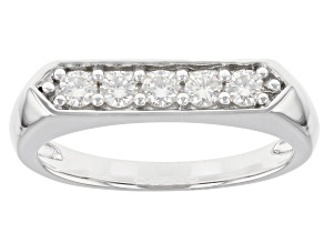 Moissanite platineve mens ring .50ctw DEW.