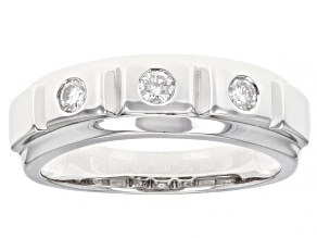 Moissanite platineve mens ring .30ctw DEW.