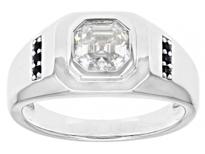 Moissanite and blue sapphire platineve mens ring 1.85ct DEW.