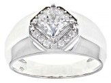 Moissanite platineve mens ring 1.54ctw DEW.