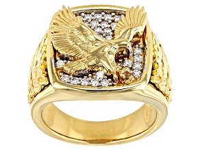Moissanite 14k yellow gold over silver mens ring .58ctw DEW.