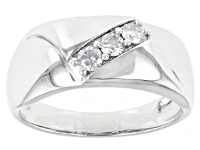 Moissanite Platineve Mens Ring .39ctw DEW.