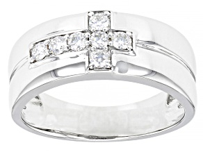 Moissanite Platineve Mens Ring .42ctw DEW.