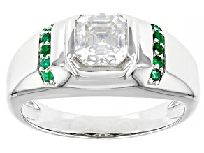 Moissanite And Emerald Platineve Mens Ring 1.85ct DEW.