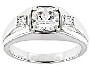 Moissanite Platineve Mens Ring 2.10ctw DEW.