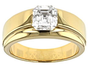 Moissanite 14k yellow gold over sterling silver mens ring 2.96ct Dew