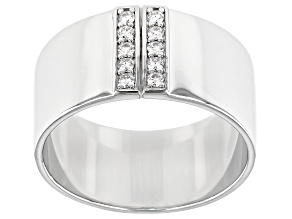 Moissanite Platineve Mens Wide Band Ring .30ctw Dew