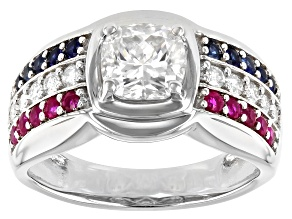 Moissanite with blue sapphire and ruby Platineve mens ring. 2.00ctw DEW.