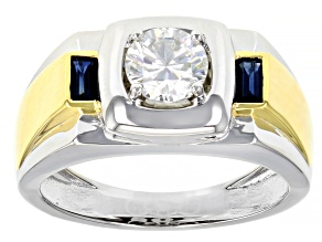 Moissanite And Blue Sapphire Platineve And 14k Yellow Gold Over Platineve Mens Ring 1.00ct Dew
